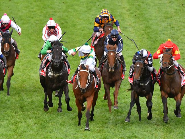 Wise Hero (centre) salutes at Caulfield in April. Picture: Getty Images