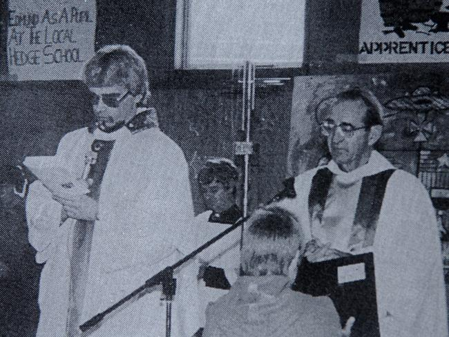 Father Paul David Ryan (left) with then Bishop of Ballarat Ronald Mulkearns (circa early 1980's).