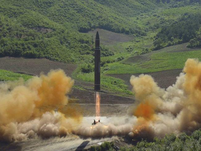 North Korea launches a Hwasong-14 intercontinental ballistic missile in the country's northwest. Picture: Korean Central News Agency/Korea News Service via AP
