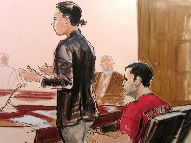 Sick fantasy ... An Oct. 25, 2012 file courtroom drawing shows lawyer Julia Gatto requesting bail for her client, New York City police Officer Gilberto Valle. Picture: AP Photo/Elizabeth Williams