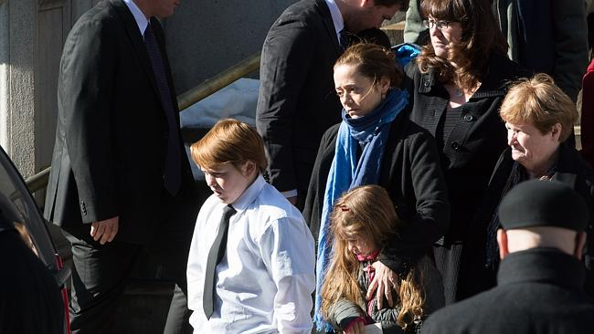 Marilyn O'Connor, Mimi O'Donnell, partner of actor Philip Seymour Hoffman, along with their children, Willa Hoffman, Tallulah Hoffman and Cooper Hoffman, leave the funeral service for actor Philip Seymour Hoffman.