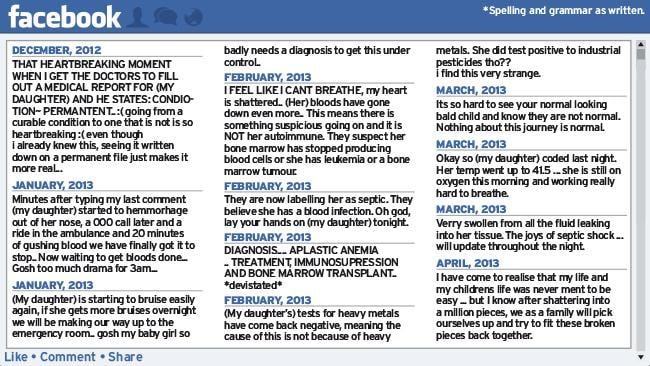 A selection of messages posted by the mother on a Facebook page Liked and followed by 7000 people