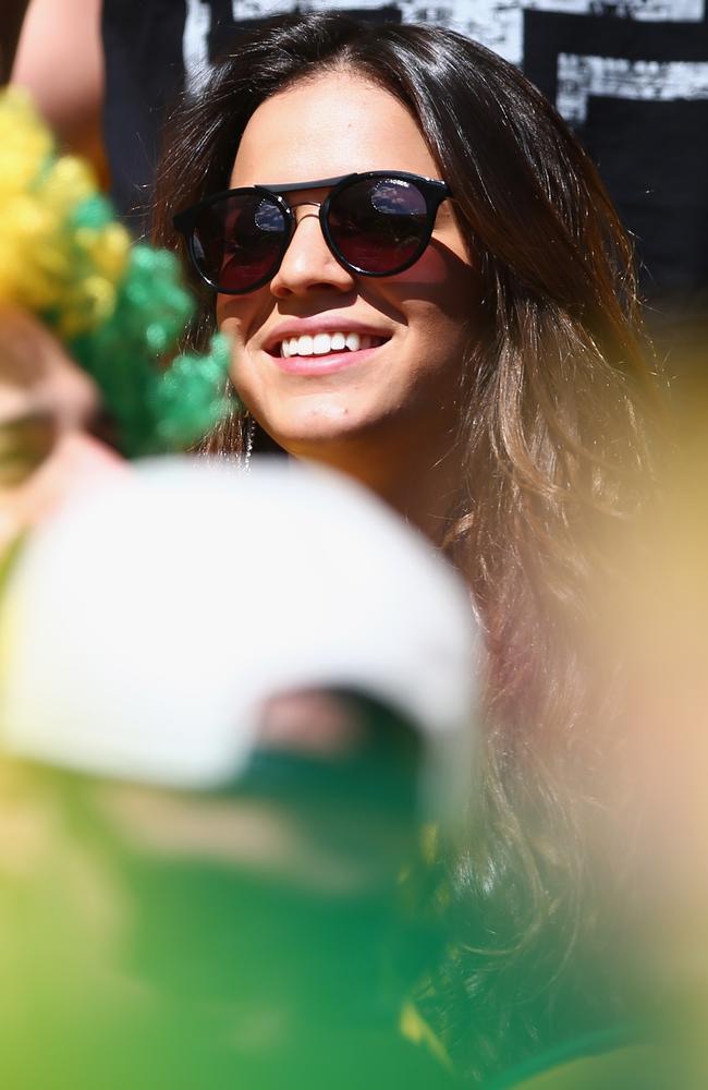 Bruna Marquezine, girlfriend of Neymar of Brazil, attends Sunday's match.