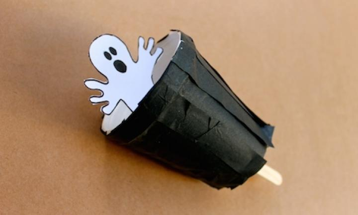 "20. Make a peekaboo ghost  <p>Got an old takeaway coffee cup lying around? Of course you do! Add a popsicle stick and you've got a cute peekaboo puppet for Halloween.</p> <p><a href=""http://www.kidspot.com.au/things-to-do/activities/make-a-peekaboo-ghost-puppet"">See here for how to make a Peekaboo ghost.</a></p>"
