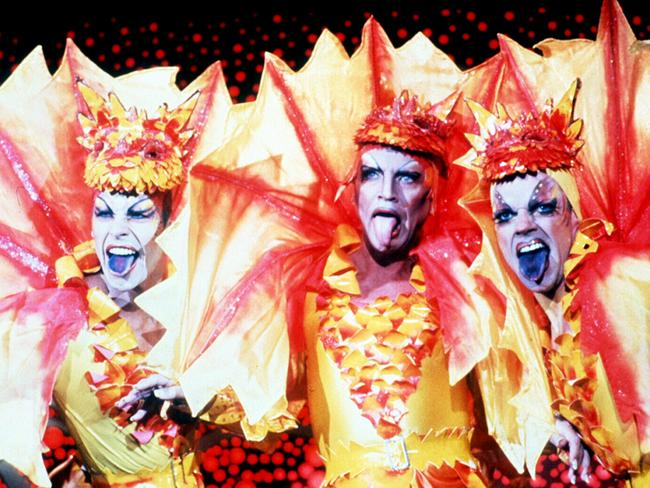 Loud and proud ... Guy Pearce, Terence Stamp and Hugo Weaving in a scene from The Adventures of Priscilla, Queen of the Desert. Picture: Supplied