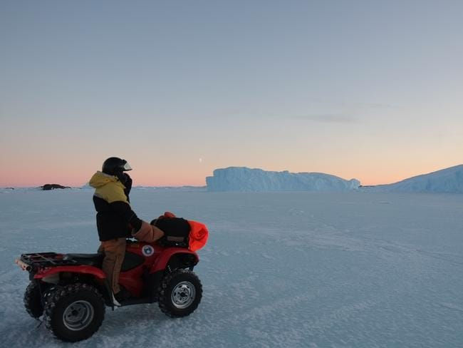 """Research purposes"": The expeditioners get to ride around on quad bikes. Picture: Vas Georgia /Australian Antarctic Division​"