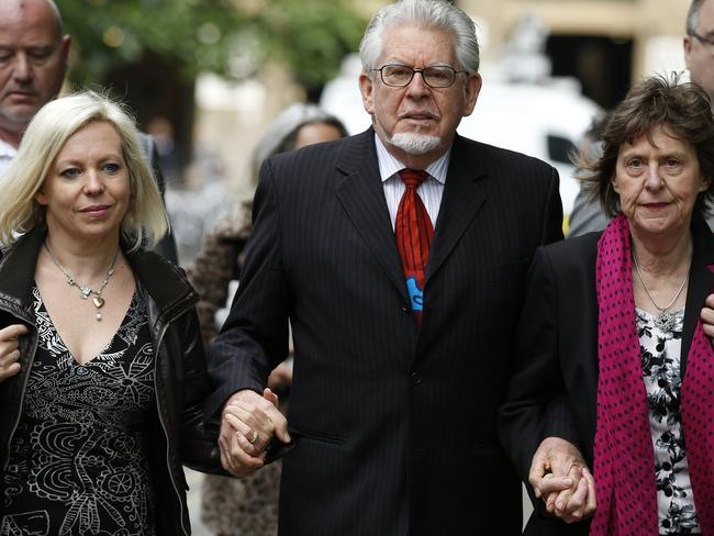 Show of strength ... Rolf Harris is publicly supported by daughter Bindi, left, and niece Jenny. Picture: Alastair Grant