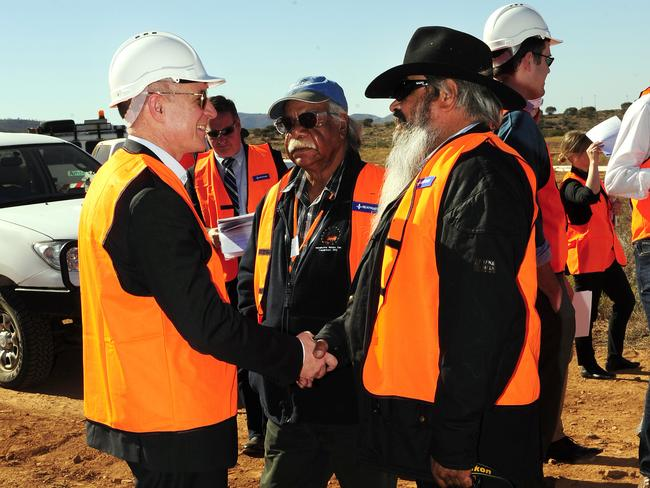 Premier Jay Weatherill meets local elder Vince Coulthard from the Adnyamathanha people. Picture: Mark Brake