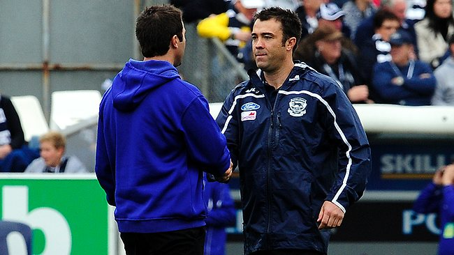 Geelong v North Melbourne. Skilled Stadium. North Melbourne Coach Brad Scott and Geelong Coach Chris Scott shake hands before the game Picture: Stephen Harman