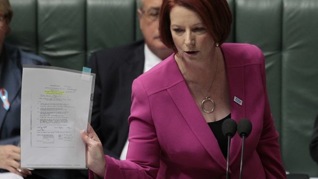 PM Julia Gillard answers accusations from Tony Abbott. Picture: Ray Strange