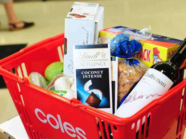 Coles is cracking down on self-serve check-outs, reducing the number of items in the self-scanning lanes to just 12. Picture: Mark Brake.