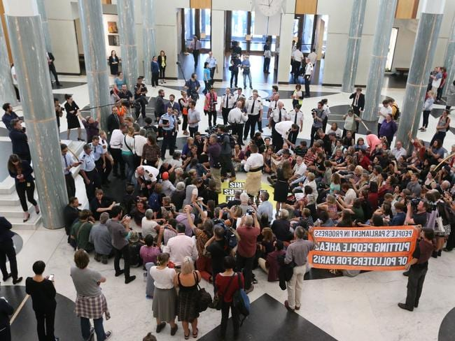Climate change sit-in rally ... protesters inside Parliament House, Canberra. Picture: Ray Strange