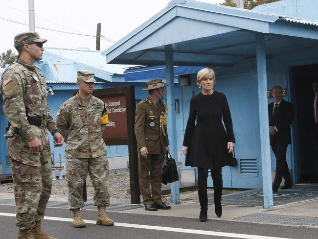 Australian Foreign Minister Julie Bishop comes out from the Neutral Nations Supervisory Commission room at the border village of Panmunjom in Paju, South Korea yesterday. Picture: Ahn Young-join/AP