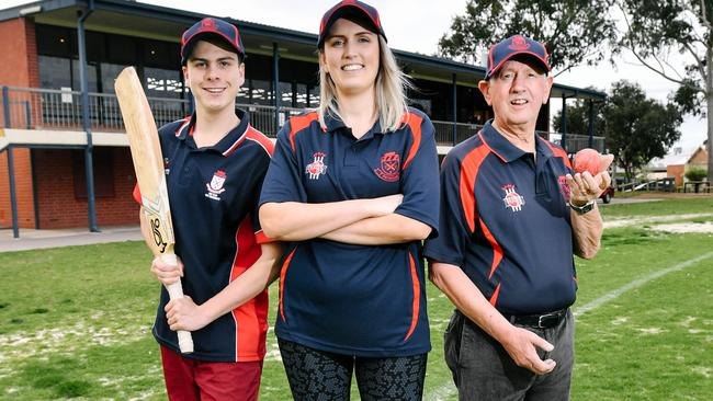 Payneham Cricket Club player Connor Kitching, inaugural women's team player Jessica von Einem and Robert Wilton, who has been playing since the 1950. Picture: AAP/Morgan Sette
