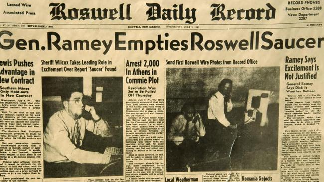A newspaper report about the Roswell saucer.