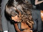 <p>Whoops ... Naomi Campbell reveals a little too much while getting out of a car. Picture: Picture Media</p>