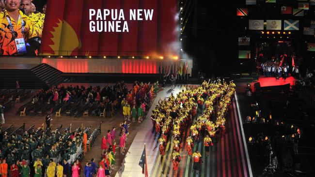 Papau New Guinea's athletes received their Commonwealth Games opening ceremony footwear just moments before the ceremony began.