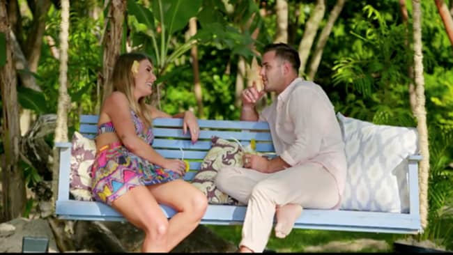 Florence and Davey on the first episode of 'Bachelor in Paradise'. Photo: Channel 10