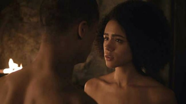 Grey Worm and Missandei in tonight's episode. Photo: HBO