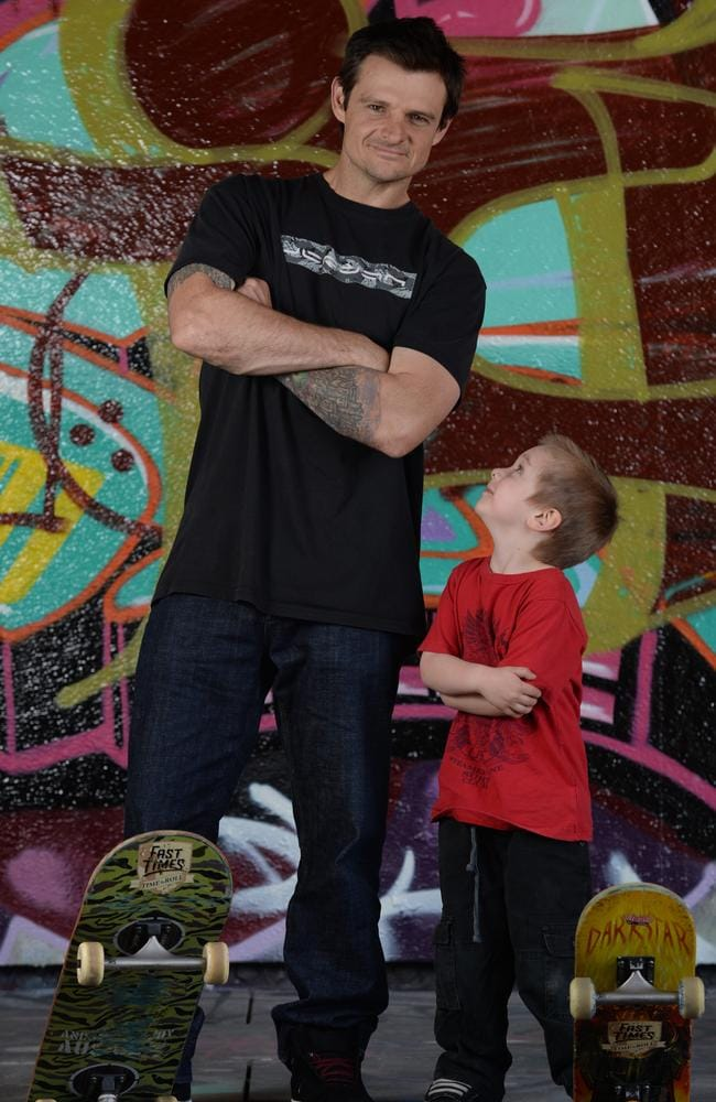 Tas Pappas, skate boarding champion with his son Billy.