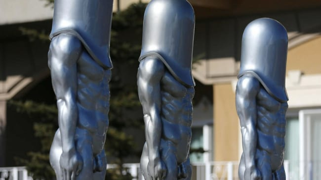 'Bullet Man' statues just outside of Olympic Villange in Pyeongchang. Photo: Getty