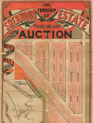Sherwood is featured on an old real estate sales map.