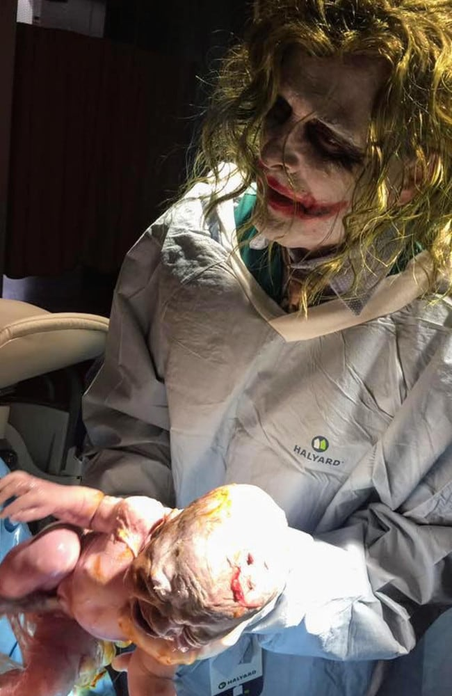 """A commenter wrote on the photo """"Birth is scary enough without an arch villain delivering your baby."""" Picture: Love What Matters/Facebook"""