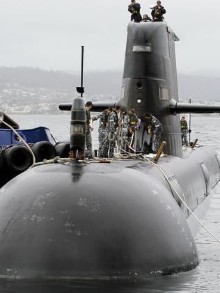 Local product ... Collins Class Submarine HMAS Farncomb in Hobart.