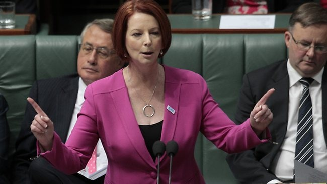 PM Julia Gillard answers Tony Abbott's accusations during question time. Picture: Ray Strange
