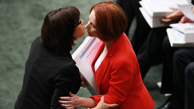 Question Time: Justine Elliott congratulates PM Julia Gillard. Question Time in the House of Representatives at Parliament House in Canberra. Kevin Rudd moved to the back bench while PM Julia Gillard went about her normal duties in Question Time. Picture: Gary Ramage
