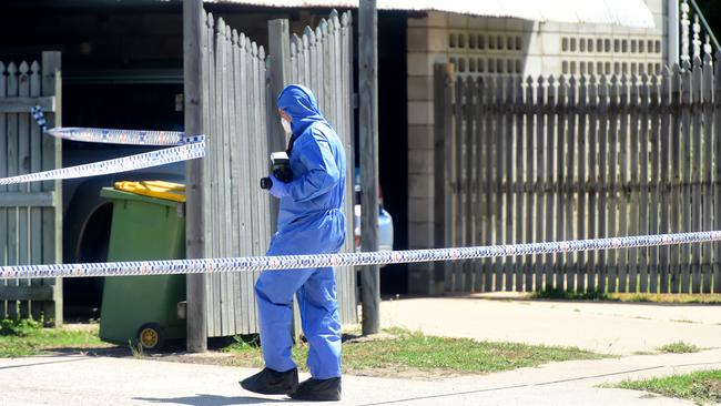 Police at the scene of the fatal attack.