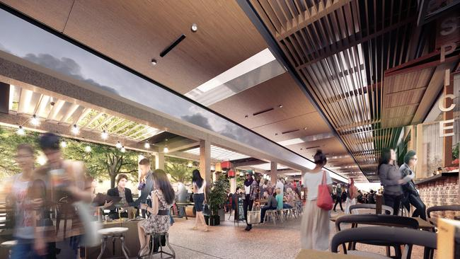 Not your grimy food court. Offering will be numerous, and options including dining outdoors and in.