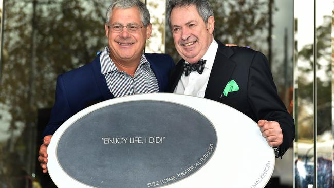The unveiling of a Melbourne Arts Walk plaque purchased by theatrical producer Cameron Mackintosh (left), with Paul Taylor (right) to honour the life and career of theatrical publicist Suzie Howie.