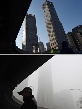 Before and after: Beijing CBD on December 2 and 3. Greg Baker.