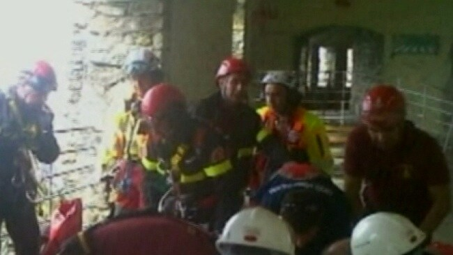 Rescue workers pictured near the site of the landslide in Cinque Terre. Picture: Sky News