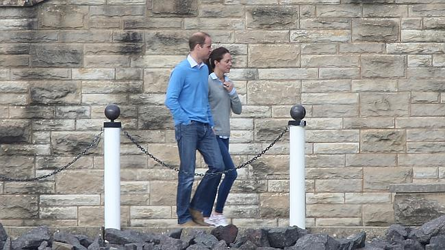 Wills and Kate enjoying their down time on the foreshore of Lake Burley Griffin at Government House. Picture: News Corp Australia