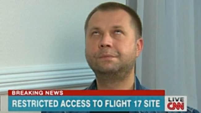 Rebel leader Alexandr Borodai rolls his eyes during a CNN interview / Picture: CNN