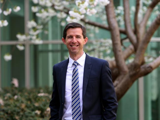 Education Minister Simon Birmingham at Parliament House in Canberra.