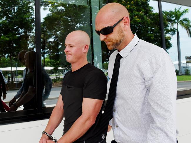 Kane O'Meley being extradited back to Sydney after being accused of biting off part of a man's ear in a pub fight on the Central Coast. He was arrested in Darwin after fleeing to the Top End.