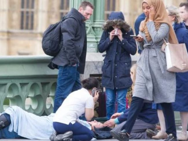 One of the most controversial moments in the aftermath of the Westminster terror attack in London. Picture: Supplied