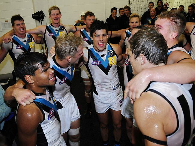 Port Adelaide celebrate in the rooms after the game Picture: Harman Stephen