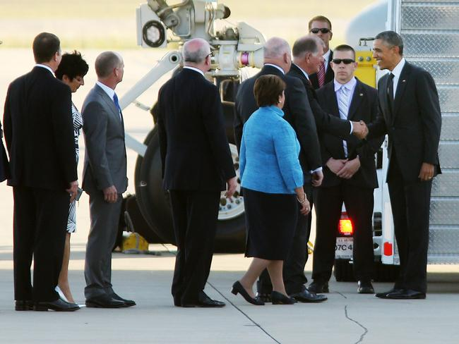 The welcome line ... President Obama arriving at RAAF Base Amberley for the G20 Summit in Brisbane. Picture: Tara Croser