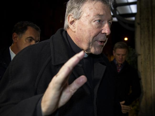 Cardinal George Pell arrives at Hotel Quirinale, Rome, to continue giving evidence to The Royal Commission via video link. Picture: David Mirzoeff / i-Images
