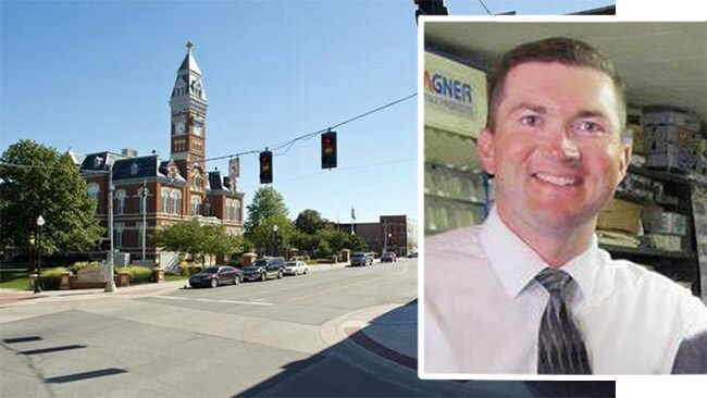 Prosecutor Rober Rice (inset Facebook picture) and the Maryville County Courthouse.