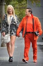 Brynne and Geoffrey Edelsten outside Crown Casino. Picture: Tony Gough
