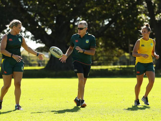 Fitted with new Fitbit Blazes, the players train with Steve Folkes. Picture: Brett Costello
