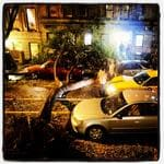 "<p>Robert Caplin @robertcaplin: ""A tree fell on my building, crushing cars and causing cab to wreck"". #hurricanesandy Picture: Twitter</p>"