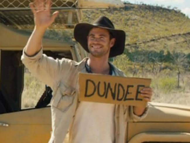 Chris Hemsworth also appeared in the Tourism Australia Dundee campaign. Could he play a younger Mick Dundee in a prequel? Picture: Dundee Movie