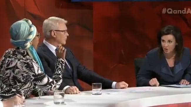 The Muslim engineer and Tasmanian senator repeatedly clashed throughout the show.