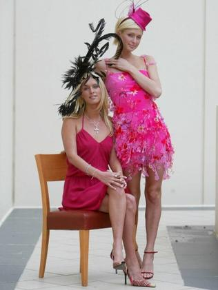 Millionaire socialites Nicky & Paris Hilton in 2003 in all their pink glory. Photo: Brett Costello.